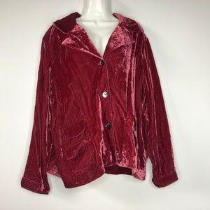 J Jill Velvet Jacket Rayon Button Front Pink XL